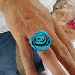 Silverplated Polymer Clay Rose Ring