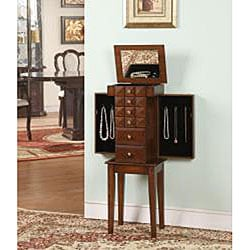 Diamante Coffee 5-Drawer Jewelry Armoire
