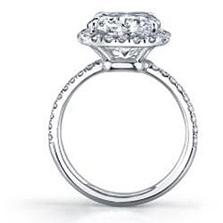 Platinum 6 3/4ct TDW Certified Diamond Engagement Ring (D, SI2)