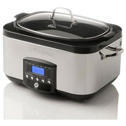 Wolfgang Puck 6QT Stainless Steel LCD Slow Cooker - Roaster Multi Cooker with WP Recipes (Refurbished)