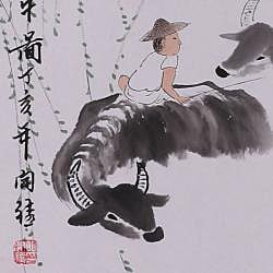 'Farmer and Buffalo' Wall Art Scroll Painting (China)