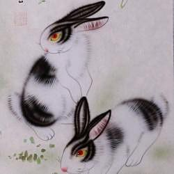 'Rabbits and Spring Flowers' Wall Art Scroll Painting (China)