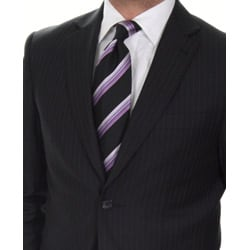 Ferrecci Men's Slim Fit Navy Pinstripe Suit