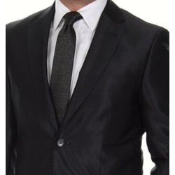 Ferrecci Men's Shiny Black 2-button Slim Fit Suit