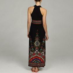 london times women's sleeveless halter banded waist dress