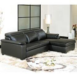 Evora Black Adjustable Leather Sectional