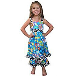 Ann Loren Girl's Tropical Floral Dress and Capri Set