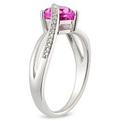 Miadora Sterling Silver Created Pink Sapphire and Diamond Accent Ring