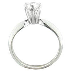 14k White Gold 1/2ct TDW Certified Diamond Solitaire Engagement Ring (H-I, SI2-SI3)