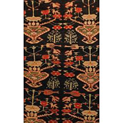 Persian Hand knotted Hamadan Black/ Rose Wool Rug (410 x 10
