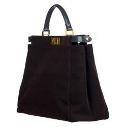 Fendi 'Peekaboo' Purple Corduroy Satchel