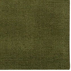 Hand-crafted Solid Dark Green Tone-On-Tone Bordered Ridges Wool Rug (6' x 9')