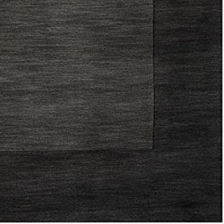 Hand-crafted Black Tone-On-Tone Bordered Wool Rug (6' x 9')