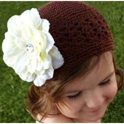 Headbandz Crocheted Baby and Toddler Brown/ Cream Kufi Hat with Flower