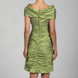 Adrianna Papell Womens Apple Ruched Cap sleeve Dress
