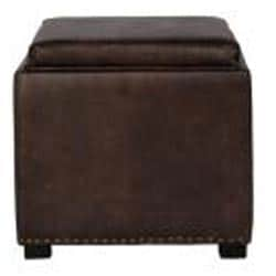 angelo:HOME Clarke Brown Renu Leather Tray Cube Ottoman