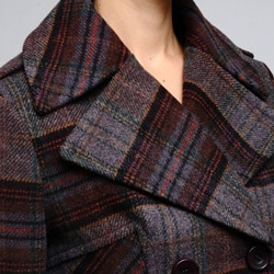 Nicole Miller Women's Plaid Wool-blend Pea Coat