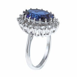 Sterling Essentials Sterling Silver Created Blue Sapphire and White Topaz Diana Ring
