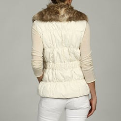 Nine West Women's Faux Fur Trim Belted Vest