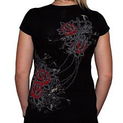 Cotty On Women's Rhinestone Rose Top