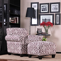 Portfolio Mira Merlot Red and Ivory Medallion Arm Chair and Ottoman