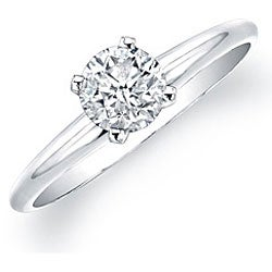 14k White Gold 5/8ct TDW Certified Diamond Solitaire Engagement Ring (H-I, I1-I2)