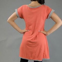 AtoZ Women's Cut-out Applique Tunic Dress
