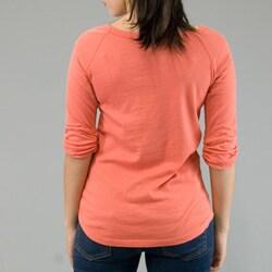AtoZ Women's Appliqued 3/4-sleeve Boatneck Top