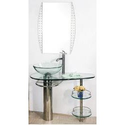 Chrome 36-inch Bathroom Vanity Vessel Sink and Faucet Combo - 13471079 ...