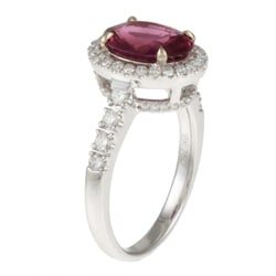 18k White Gold Ruby and 2/5ct TDW Diamond Estate Ring (G-H, VS2-SI1)