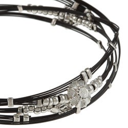 Celeste Stainless Steel Black Crystal Flower Bangle Bracelets (Set of 5)