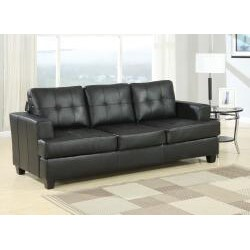 Diamond Black Leather Sleeper Sofa