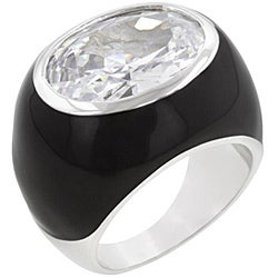 Kate Bissett Silvertone and Black Enamel Cubic Zirconia Cocktail Ring