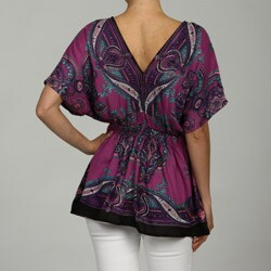 Lola P Women's Purple Scarf Print Double V-neck Tunic Top