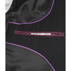 Ferrecci Men's Black Pinstripe 3-button Suit