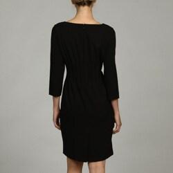 calvin klein women's 3/4sleeve black dress  13524317