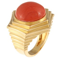18k Yellow Gold Coral Cabochon Chunky Estate Ring Sz 6