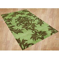 Alliyah Handmade Palm Green New Zealand Blend Wool Rug