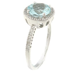 14k White Gold Aquamarine and 1/5ct TDW Diamond Ring (H-I, I1-I2)