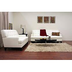 Adair White Leather Modern Sofa Set