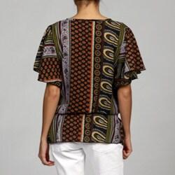 Elan Women's Ruffle Cascade Short-sleeve Blouson Tunic