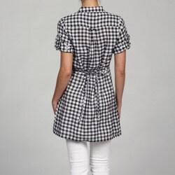 Ninety Women's Black Gingham Tunic Shirt