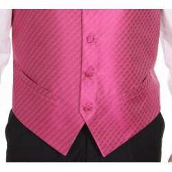 Ferrecci Men's Fuchsia Patterned 4-piece Vest Set