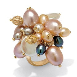 Angelina D'Andrea 18k Gold over Silver Multi-colored FW Pearl Ring (3-12 mm)