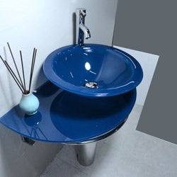 Kokols Blue Vessel Sink Pedestal Bathroom Vanity