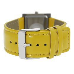 Geneva Platinum Women's Rhinestone Yellow Strap Watch