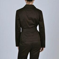 Larry Levine Signature Women's Belted Jacket Pant Suit