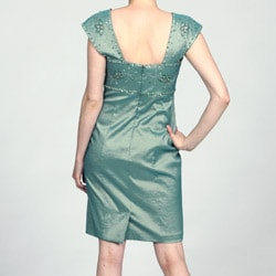 Ignite Evenings Women's Green Beaded Cap-sleeve Dress