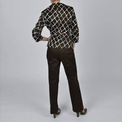 Signature by Larry Levine Brown Giraffe-print Jacket Pant Suit