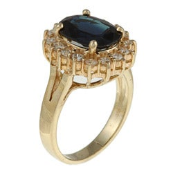 Kabella 14k Yellow Gold Sapphire and 1/2ct TDW Diamond Ring (H, SI1-SI2)